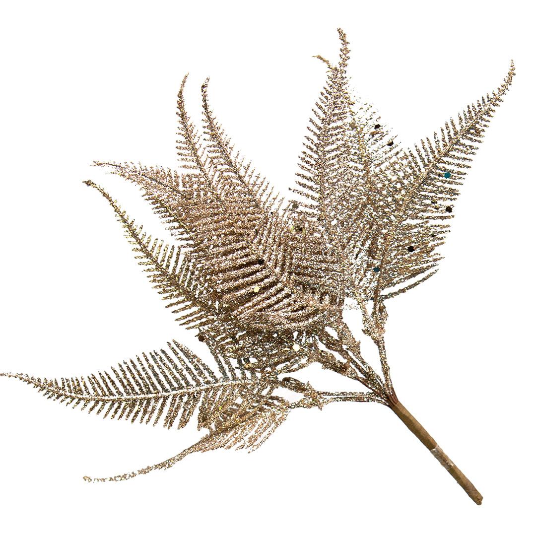 Folha Artificial Samambaia Dourada 20cm | Natal Formosinha