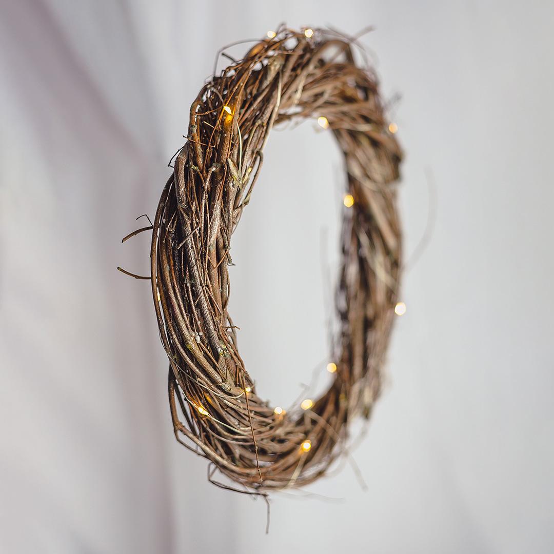 Guirlanda Natural com Luzes de Led 30cm   Natal Formosinha