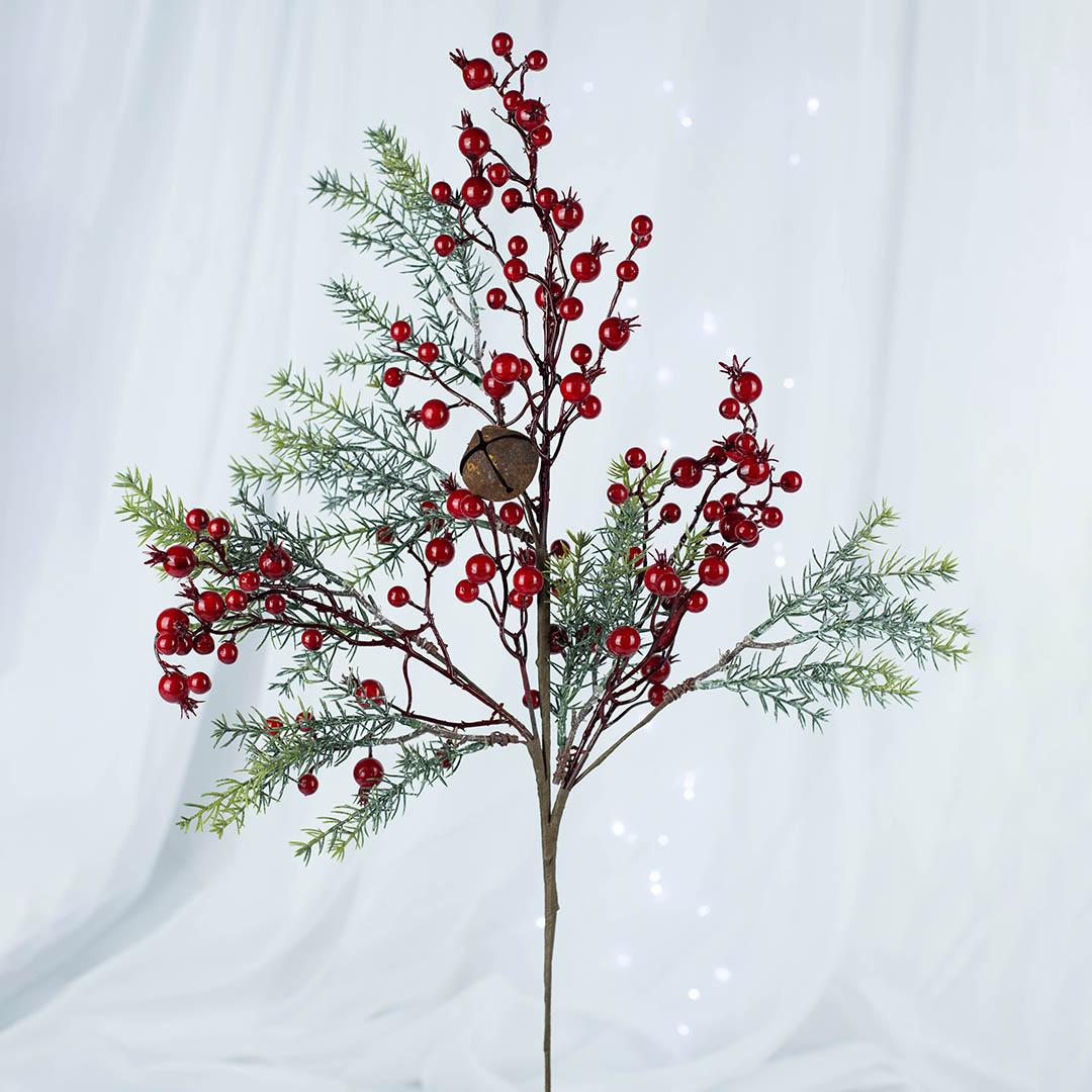 Haste Artificial Berry e Guizo 70cm Luxo   Natal Formosinha