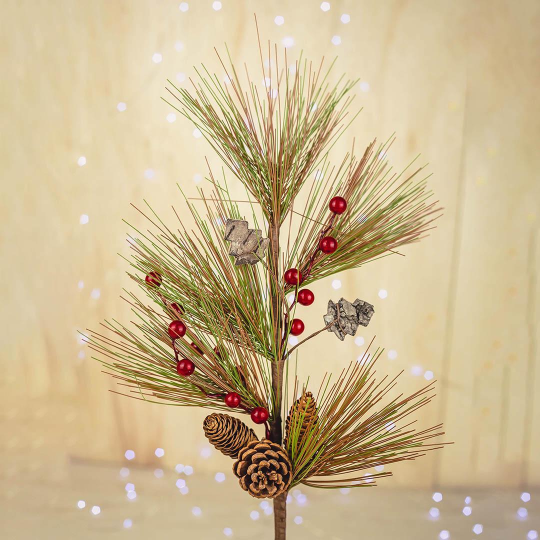 Haste Artificial Berry e Pinheiro 61cm Luxo   Natal Formosinha