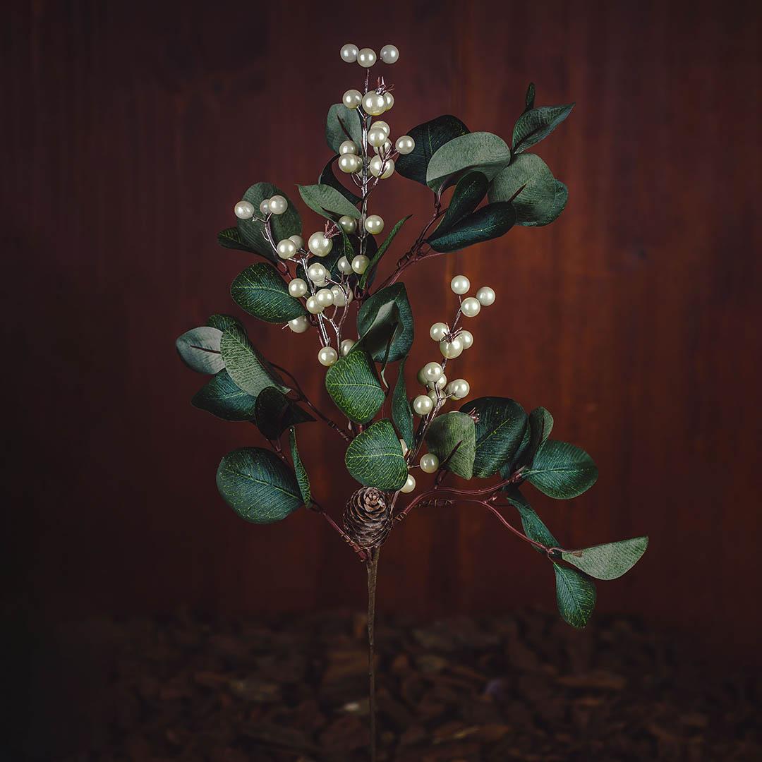 Haste Artificial de Perolas Berry e Eucalipto 65cm Luxo | Natal Formosinha