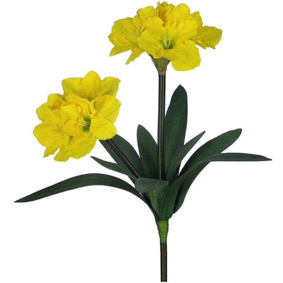 Flores artificiais Haste de Amarílis Duplo Amarelo|Linha permanente Formosinha