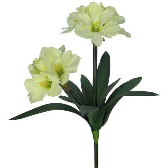 Flores artificiais Haste de Amarílis Duplo Creme|Linha permanente Formosinha