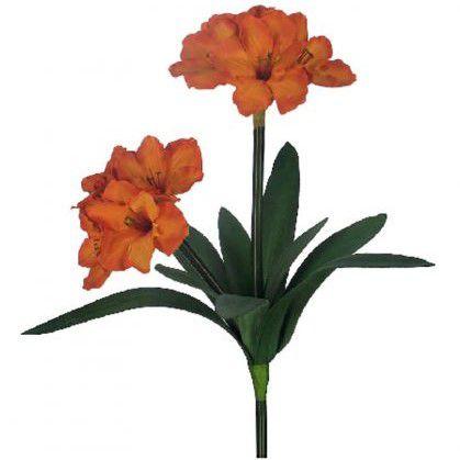 Flores artificiais Haste de Amarílis Duplo Laranja|Linha permanente Formosinha