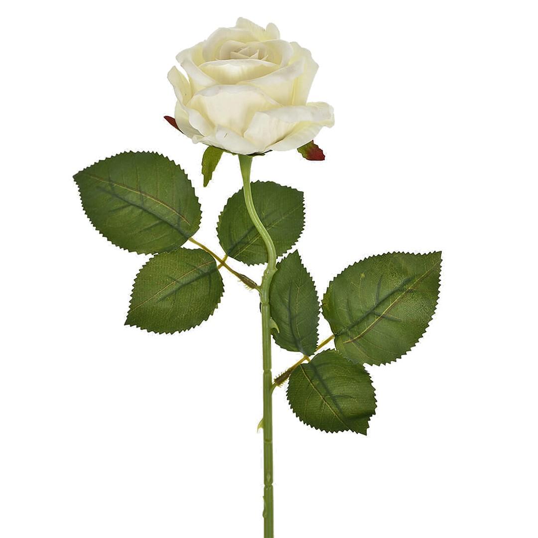 Haste de Flor Artificial Rosa Veludo Creme | Linha Permanente Formosinha