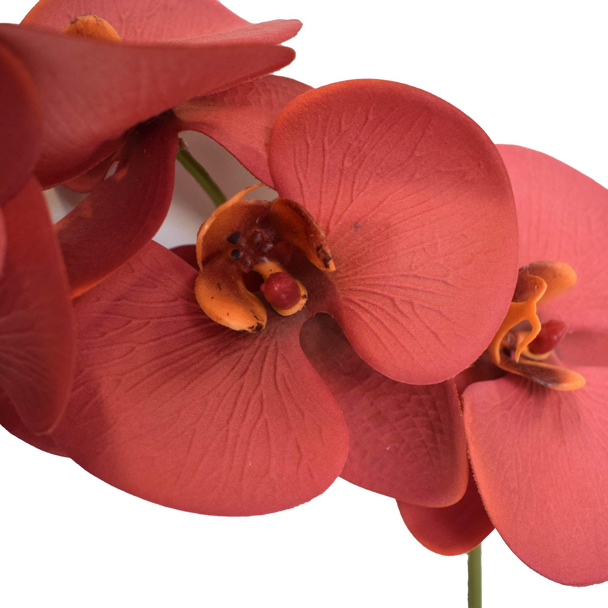 Flores artificiais Haste de Orquídea Toque Real Vermelho|Linha permanente Formosinha