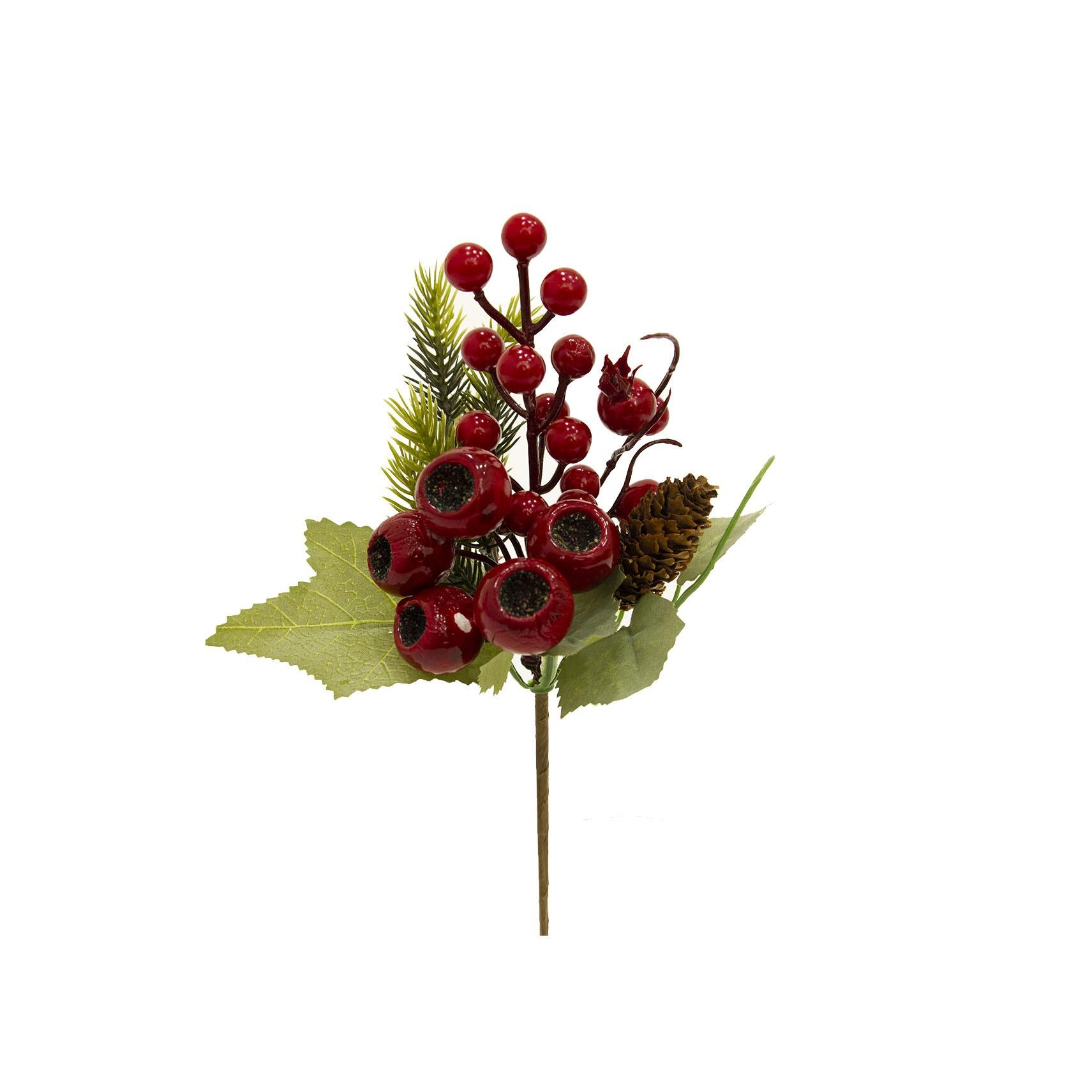 Haste Natalinas Berry e Pinha 23 cm Luxo | Linha Natal Encantado