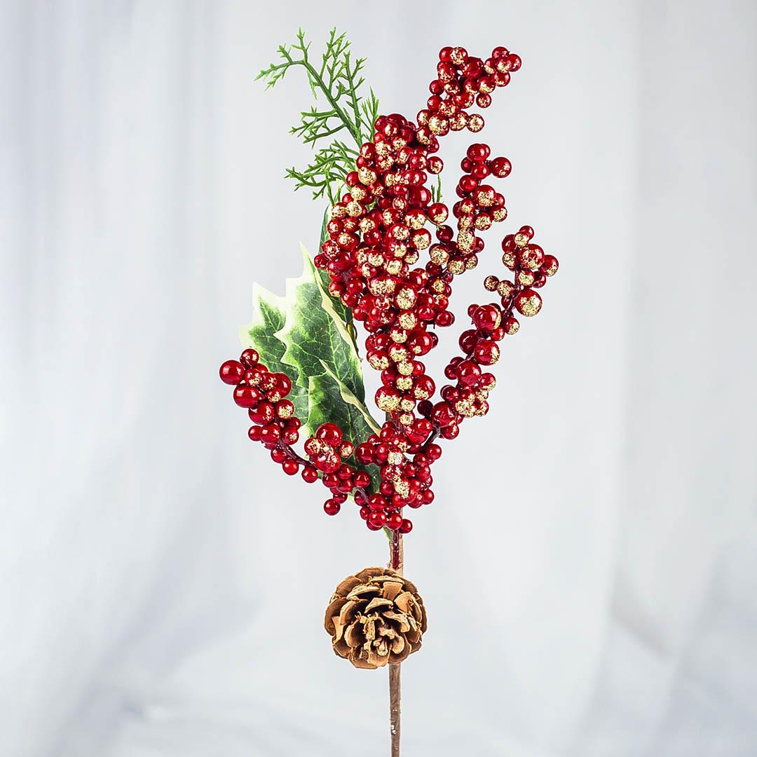 Haste Natalinas Berry e Pinha 24 cm | Natal Formosinha
