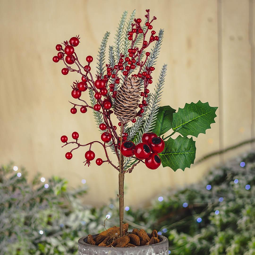 Haste Natalinas Berry e Pinha 47 cm Luxo | Natal Formosinha