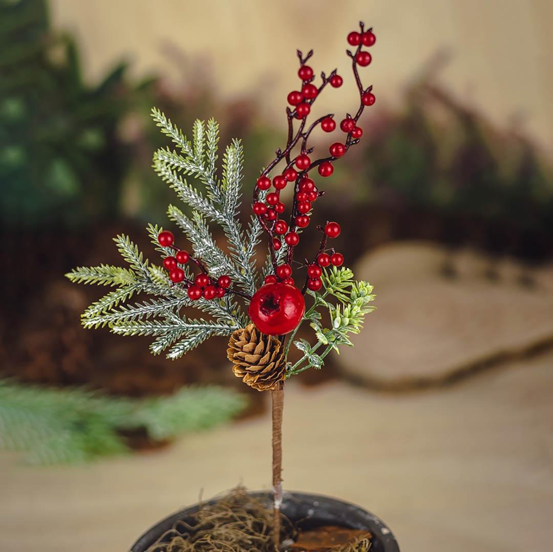 Haste Natalinas Berry e Romã 30 cm   Natal Formosinha