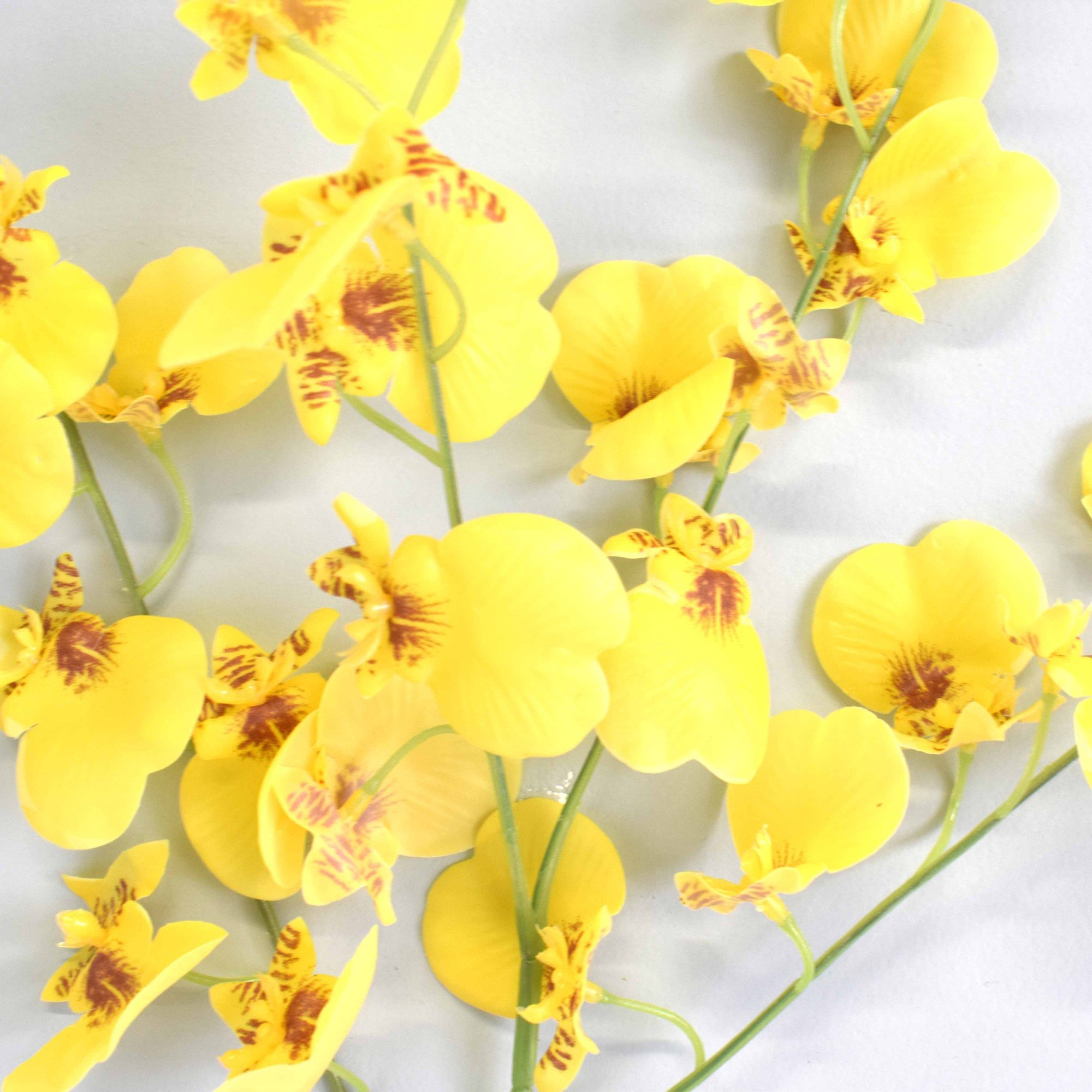 Flores artificiais Haste Orquídea Dançante De Silicone|Linha permanente Formosinha