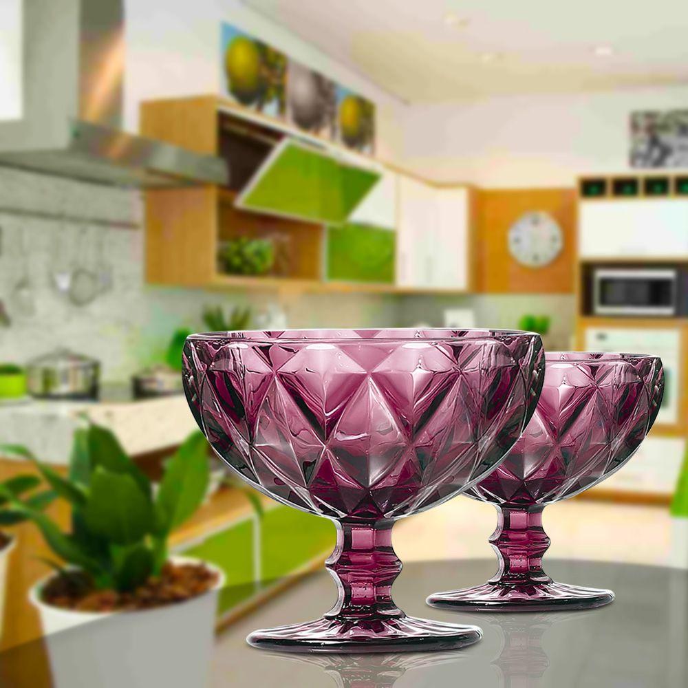 Jogo de Taças de Sobremesa Diamante Lilás