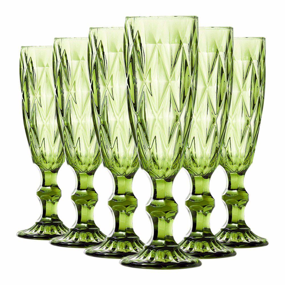 Jogo de Taças de Champagne Diamante Verde