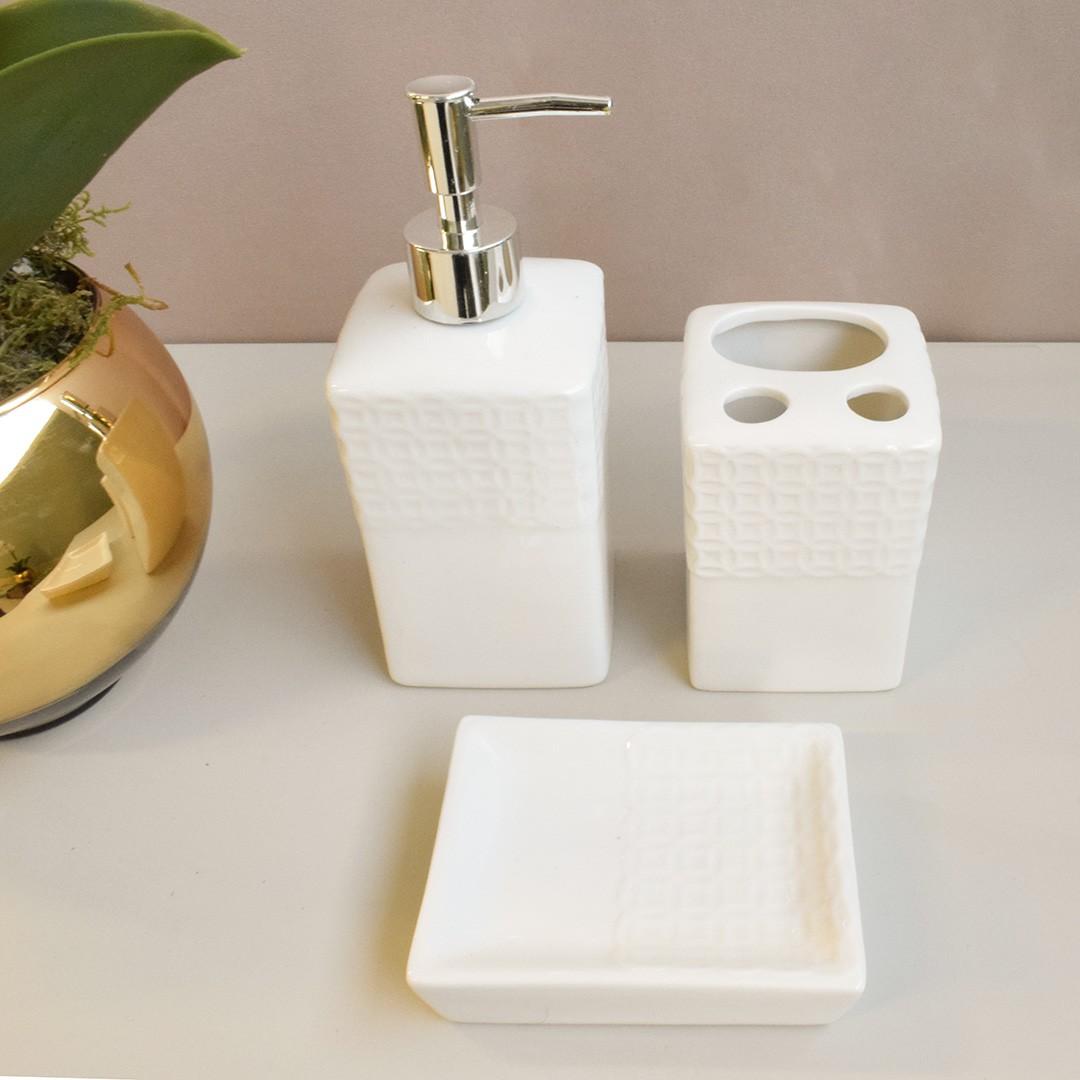 Jogo com 3 Peças para Banheiro de Porcelana Branco