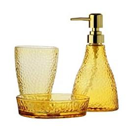 Jogo com 3 Peças para Banheiro de Vidro Âmbar com Dispenser Dourado