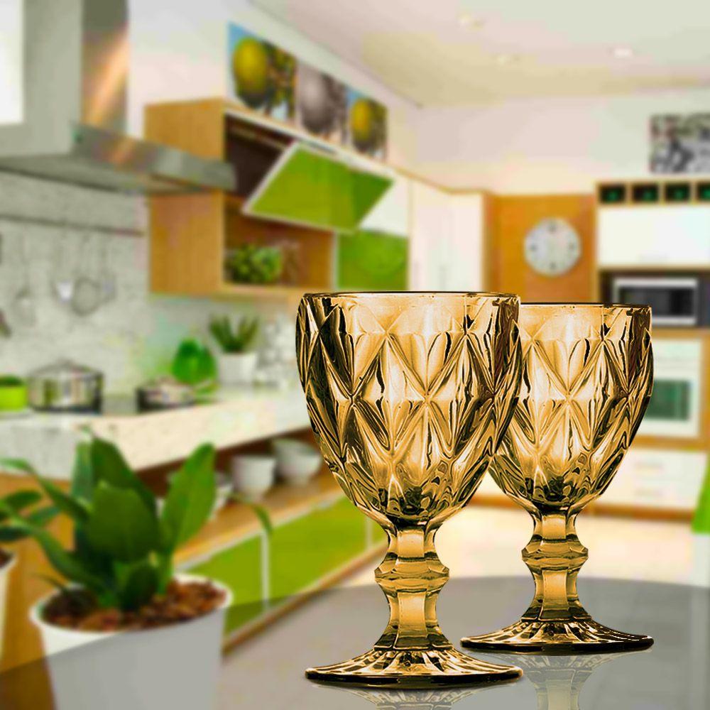 Jogo de Taças de Vinho, Água Diamante Ambar 6 Unidades | Linha Cristais Finos