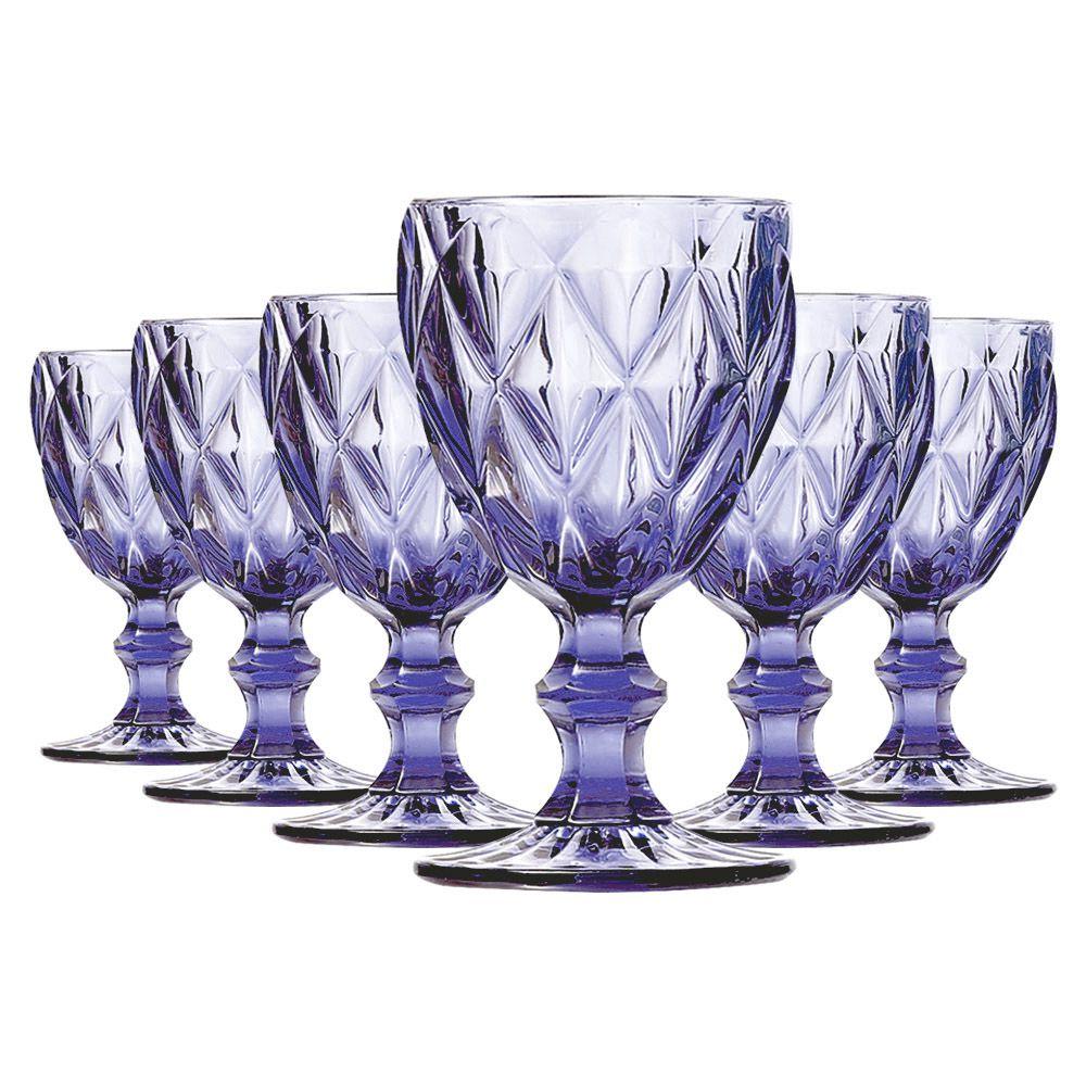 Jogo de Taças de Água Diamante Azul 6 Peças | Linha Color Taças
