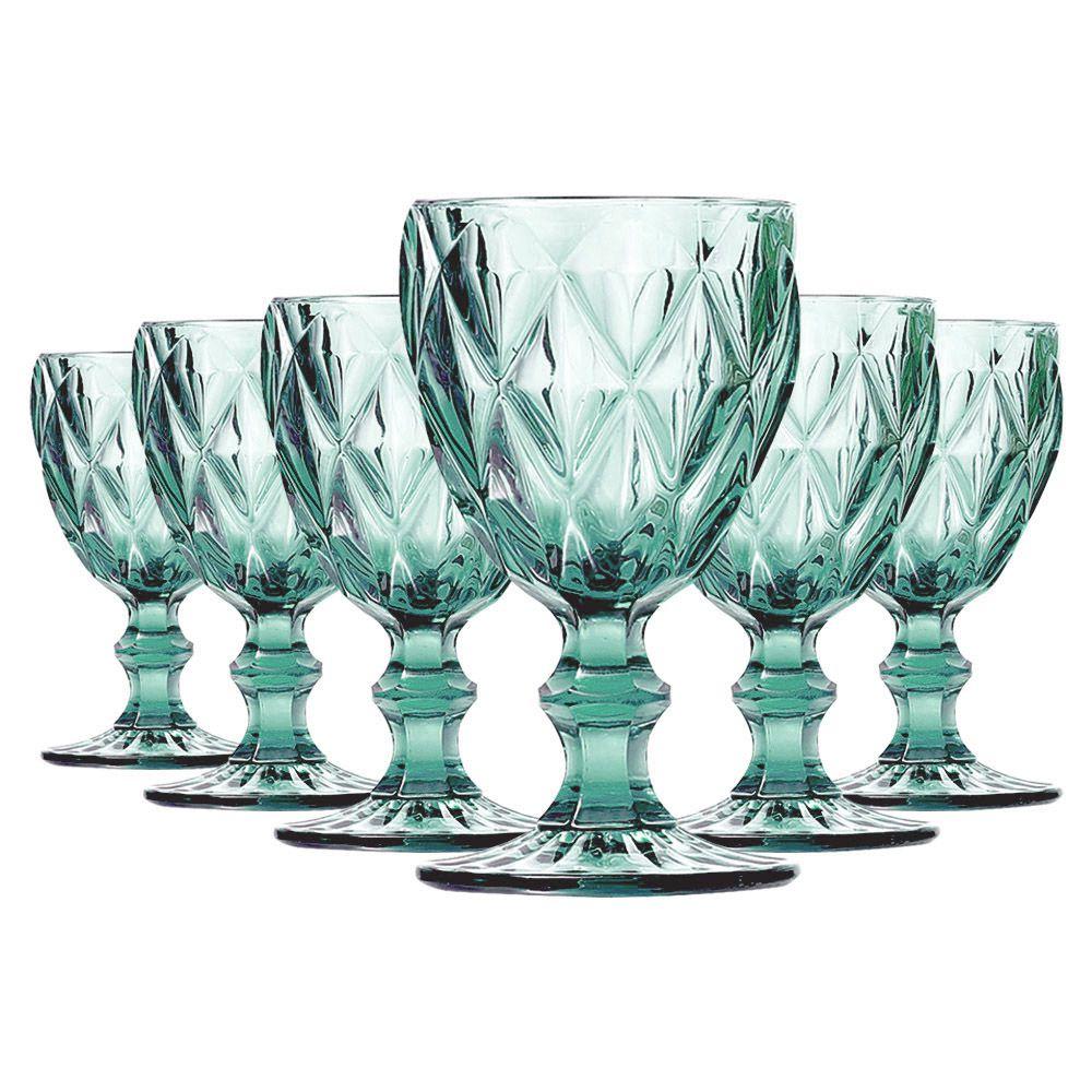 Jogo de Taças de Água Diamante Azul Tiffany 6 Peças | Linha Color Taças