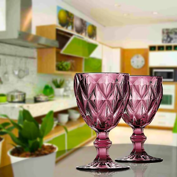 Jogo de Taças de Água Diamante Lilás 6 Unidades | Linha Color Taças