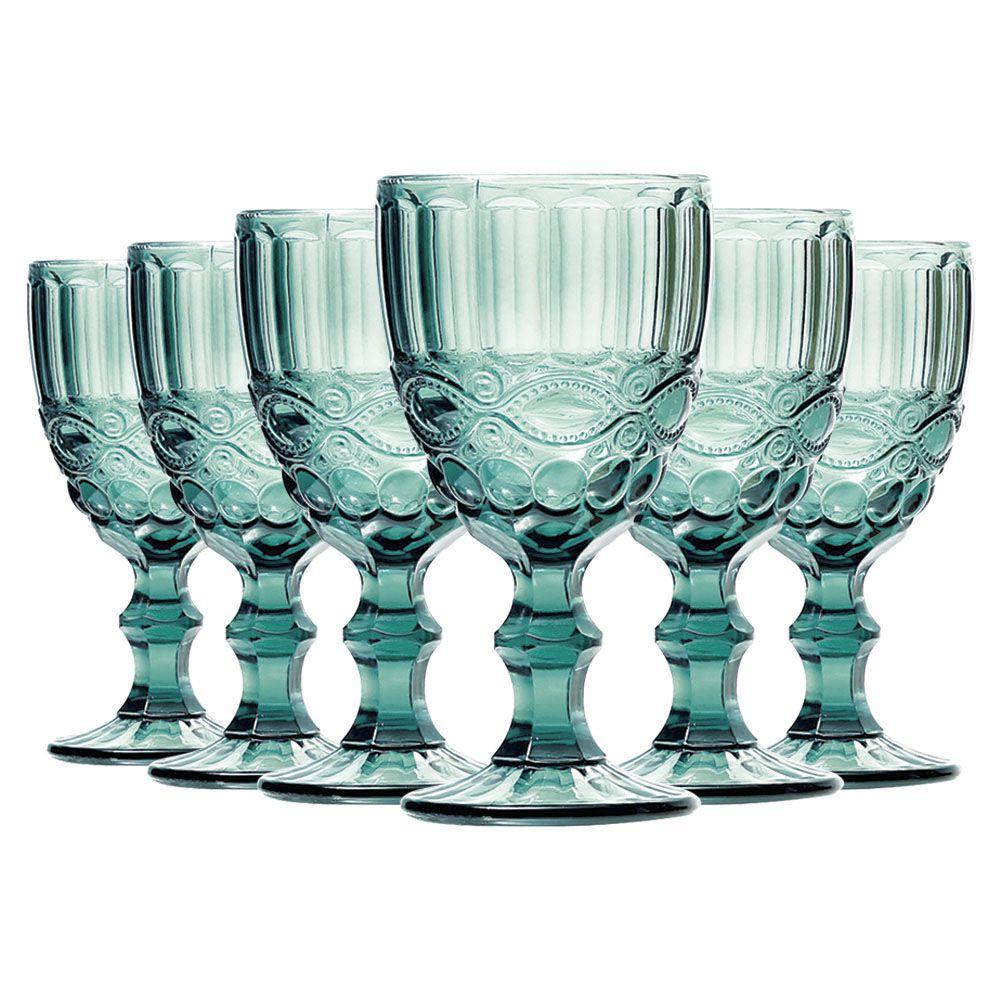 Jogo de Taças de Água Elegance Azul Tiffany Com 6 Un | Linha Color Taças