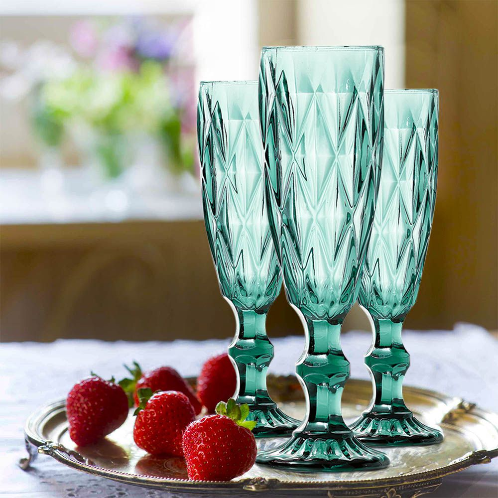 Jogo de Taças de Champagne Diamante Azul Tiffany