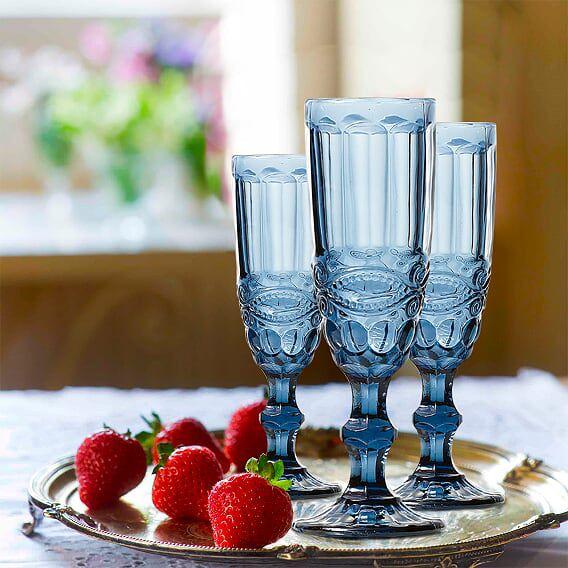 Jogo de Taças de Champagne Elegance Azul