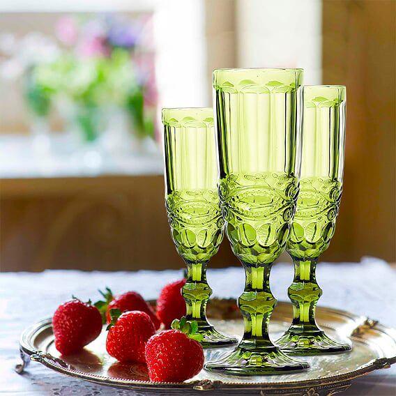 Jogo de Taças de Champagne Elegance Verde