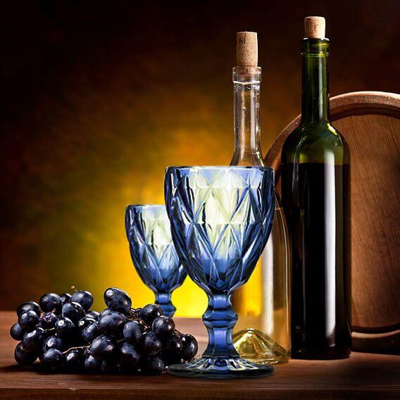 Jogo de Taças de Vinho Diamante Azul