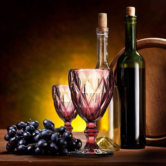 Jogo de Taças de Vinho Diamante Lilás