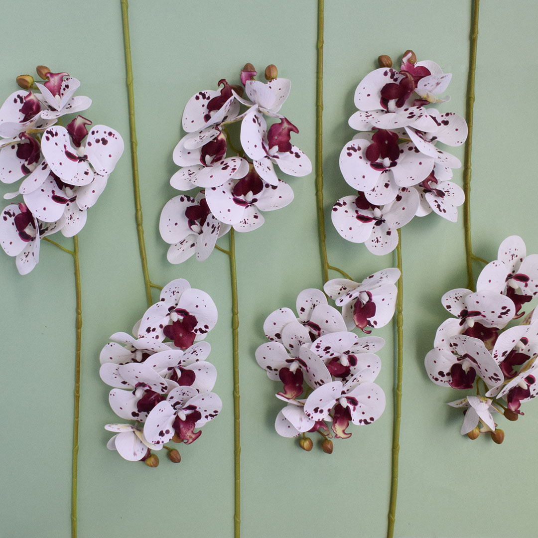 Kit 12 Flores Artificiais - Haste de Orquídea Tigre | Formosinha