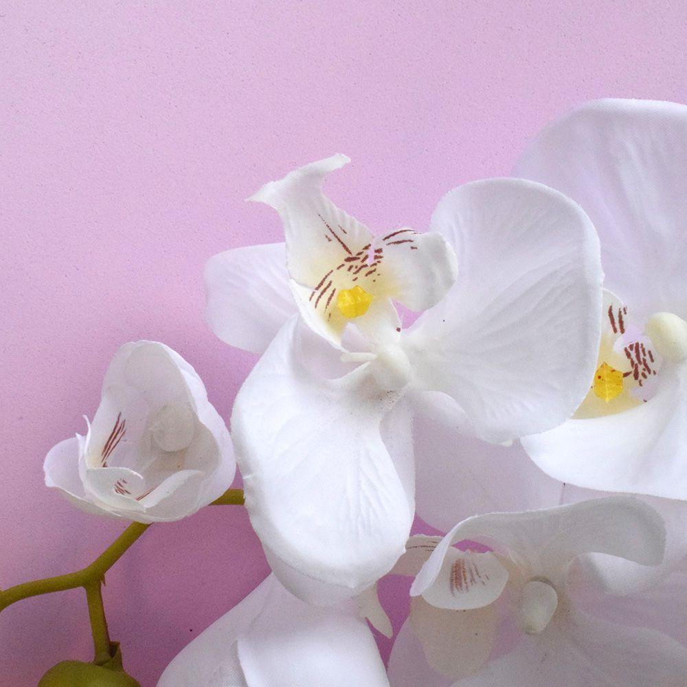 Kit 24 Orquídeas Artificiais Brancas Aveludadas 95 cm - M
