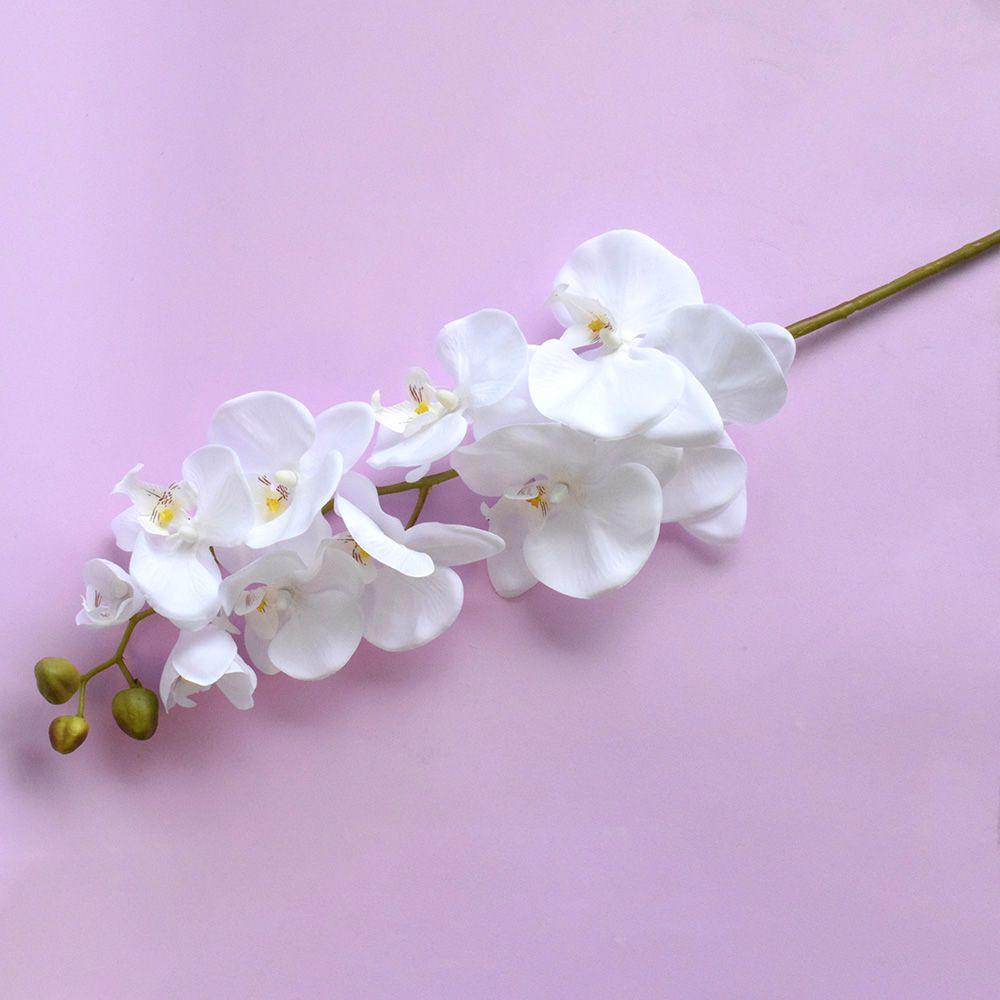 Flor em Atacado Kit com 6 Orquídeas Artificiais Brancas | Linha Decoração Casamento Formosinha