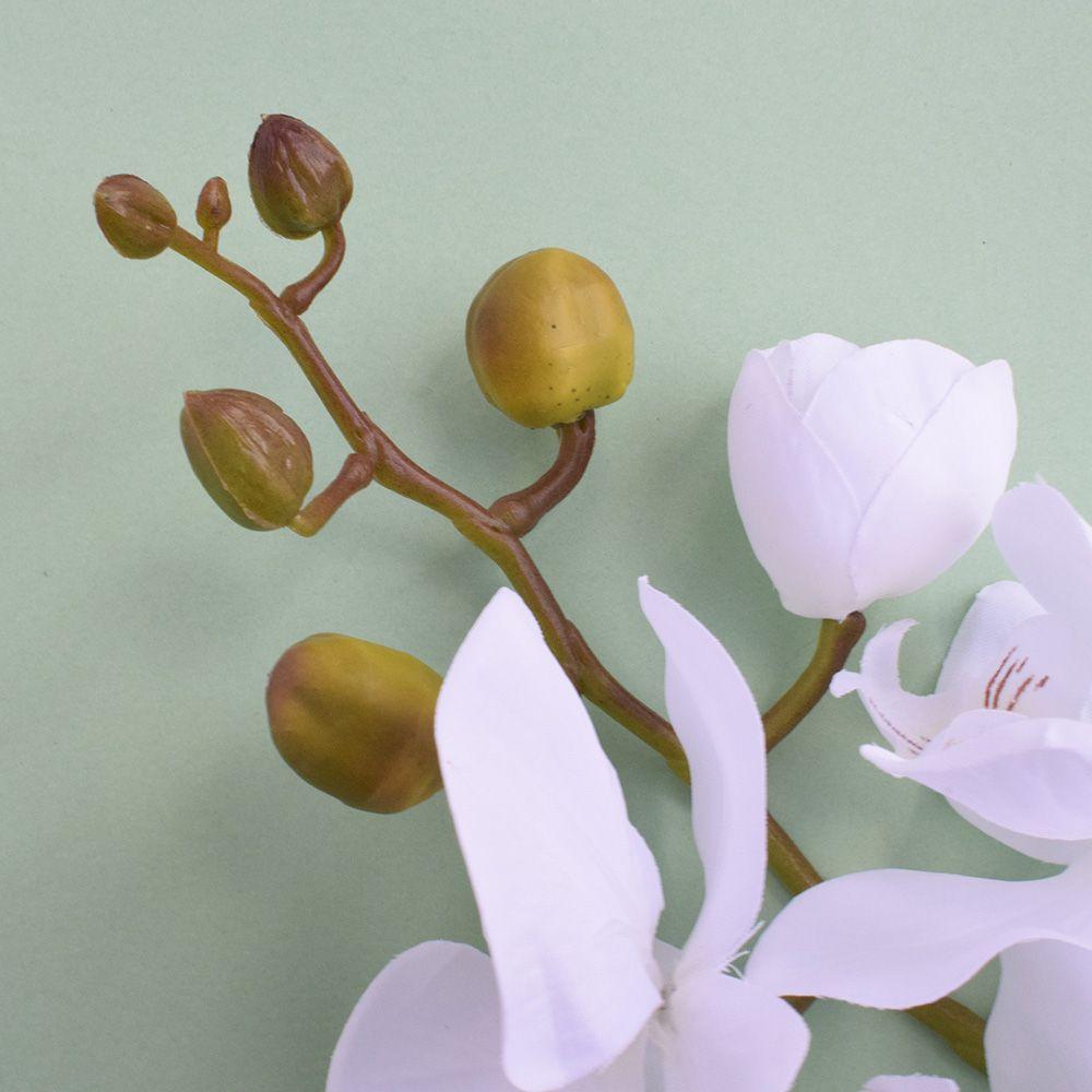 Kit 6 Orquídeas Artificiais Brancas Aveludadas com 7 flores