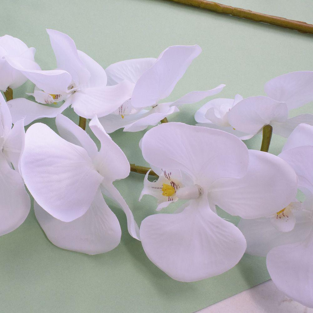 Kit 9 Orquídeas Artificiais Brancas Aveludadas 77cm