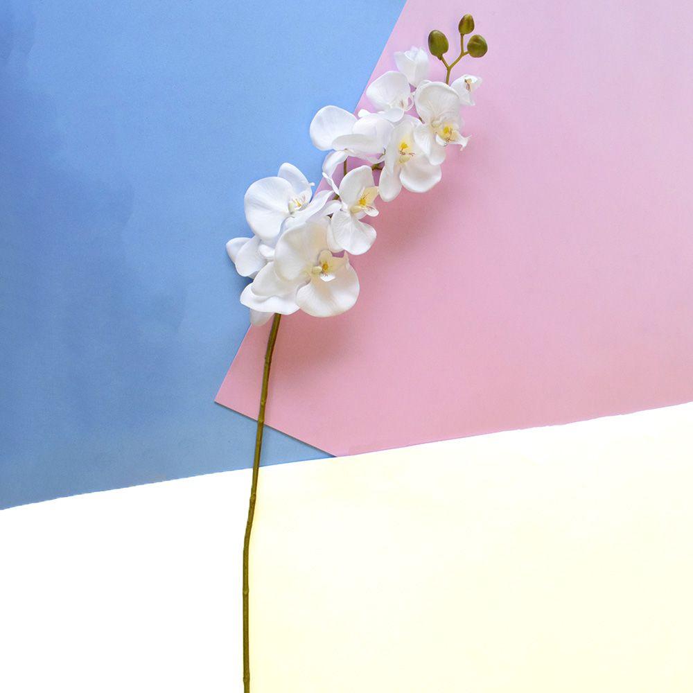 Kit 9 Orquídeas Artificiais Brancas Aveludadas 95 cm | Formosinha