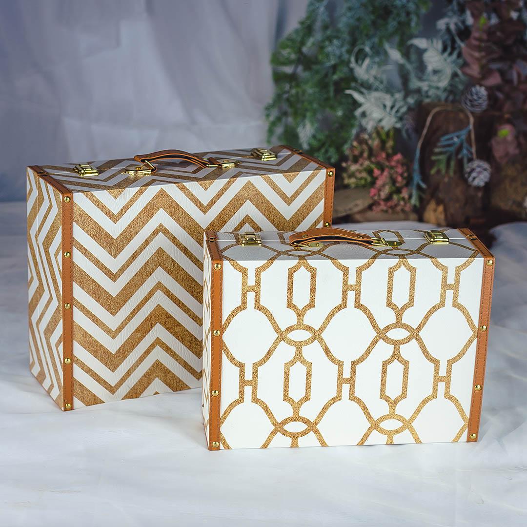 Kit com2 Caixas de Madeira Decorativas Douradas|Formosinha
