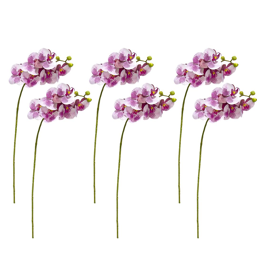 Kit Com 6 Flores Artificiais Haste de Orquídea Toque Real Lilás | Formosinha