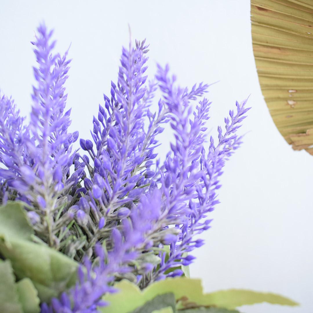 Kit com 2 Arranjos de Lavandas e Flores do Campo no Vaso Âmbar |Formosinha