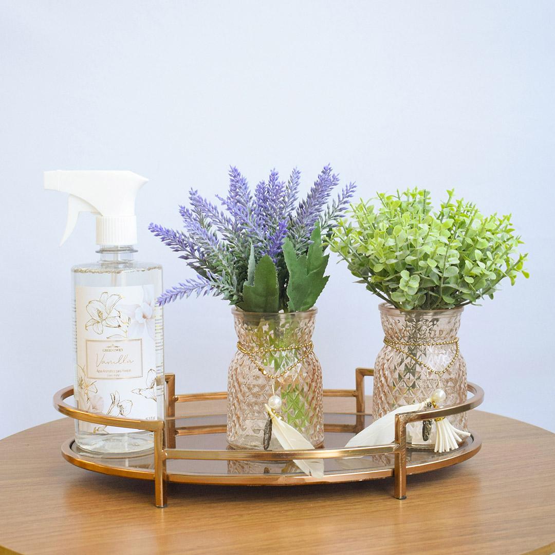 Kit com 2 Arranjos de Lavandas e Folhagem Artificial no Vaso Âmbar  Formosinha