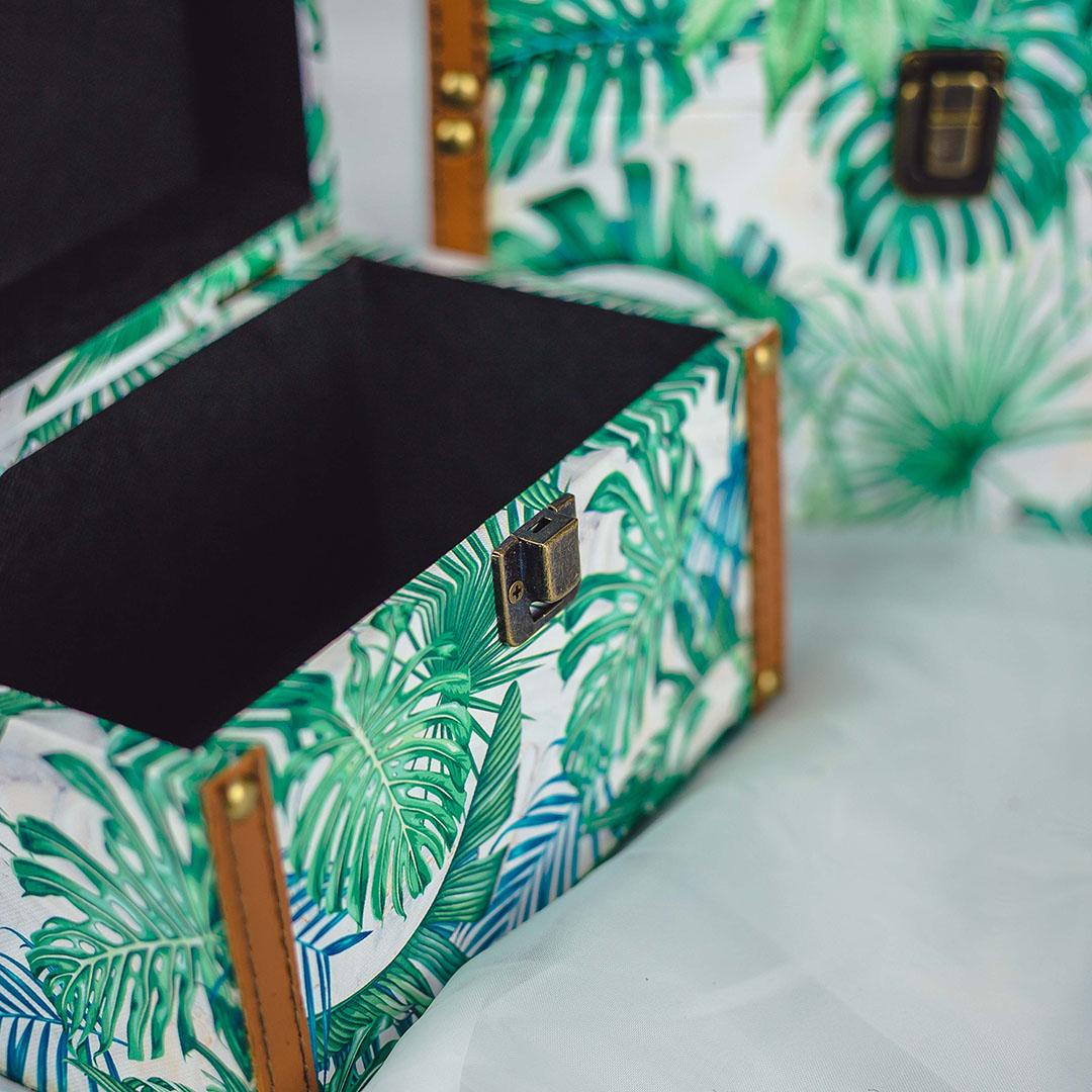 Kit com 2 Baús Decorativos Folhas | Formosinha