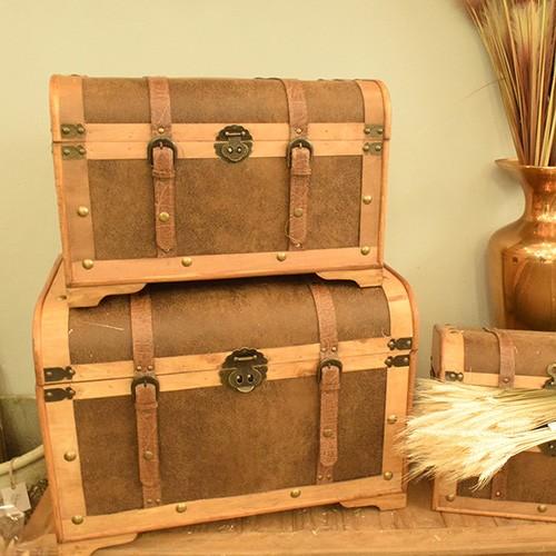 Kit com 3 Baús Vintage Marrom para Decoração | Linha Decoração Formosinha