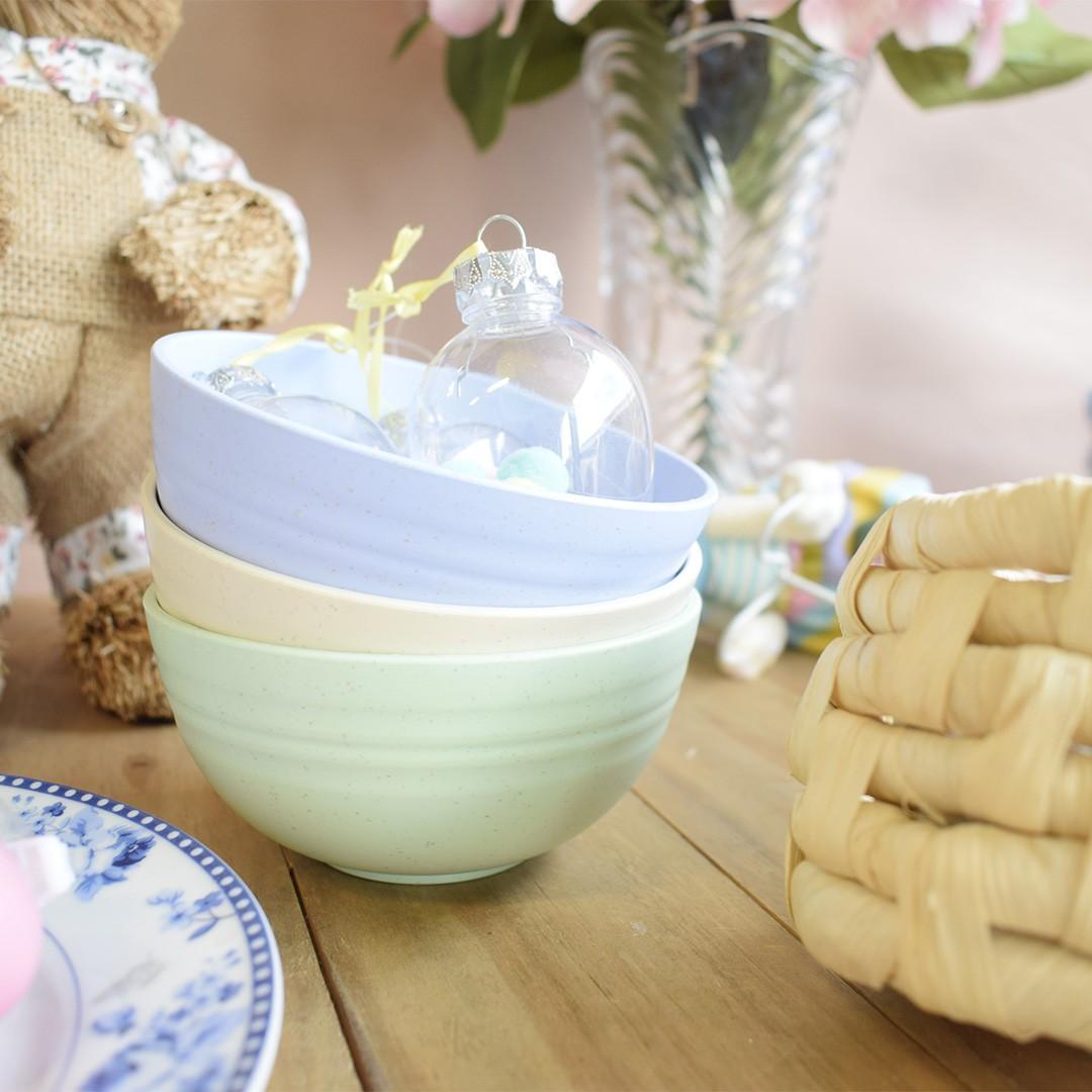 Kit com 3 Bowls de Bambu Ecológico Candy Color| Linha Utilidade Design Formosinha