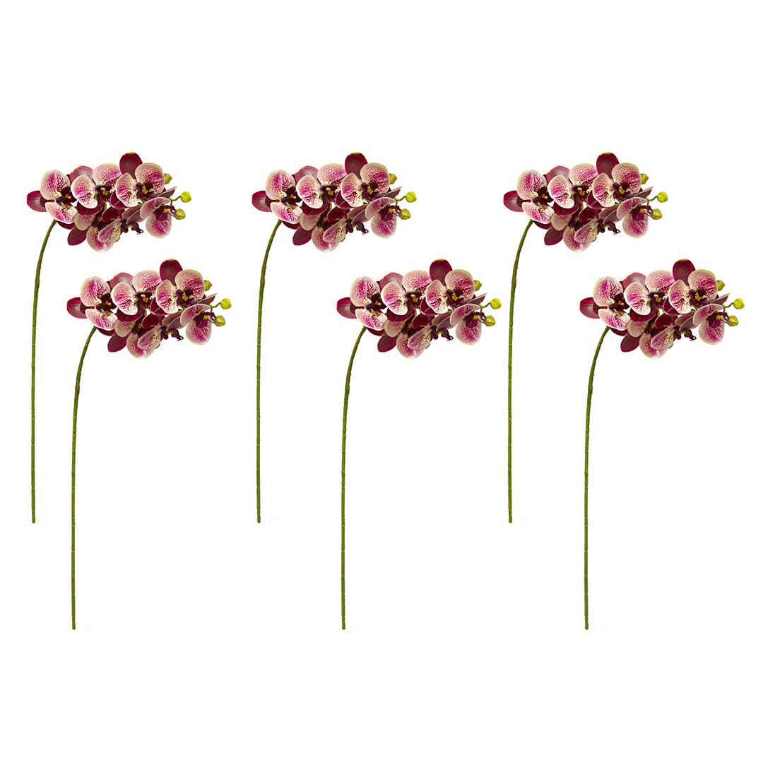 Kit com 6 Flores Artificiais em Atacado - Orquídea de Silicone Rosa| Formosinha