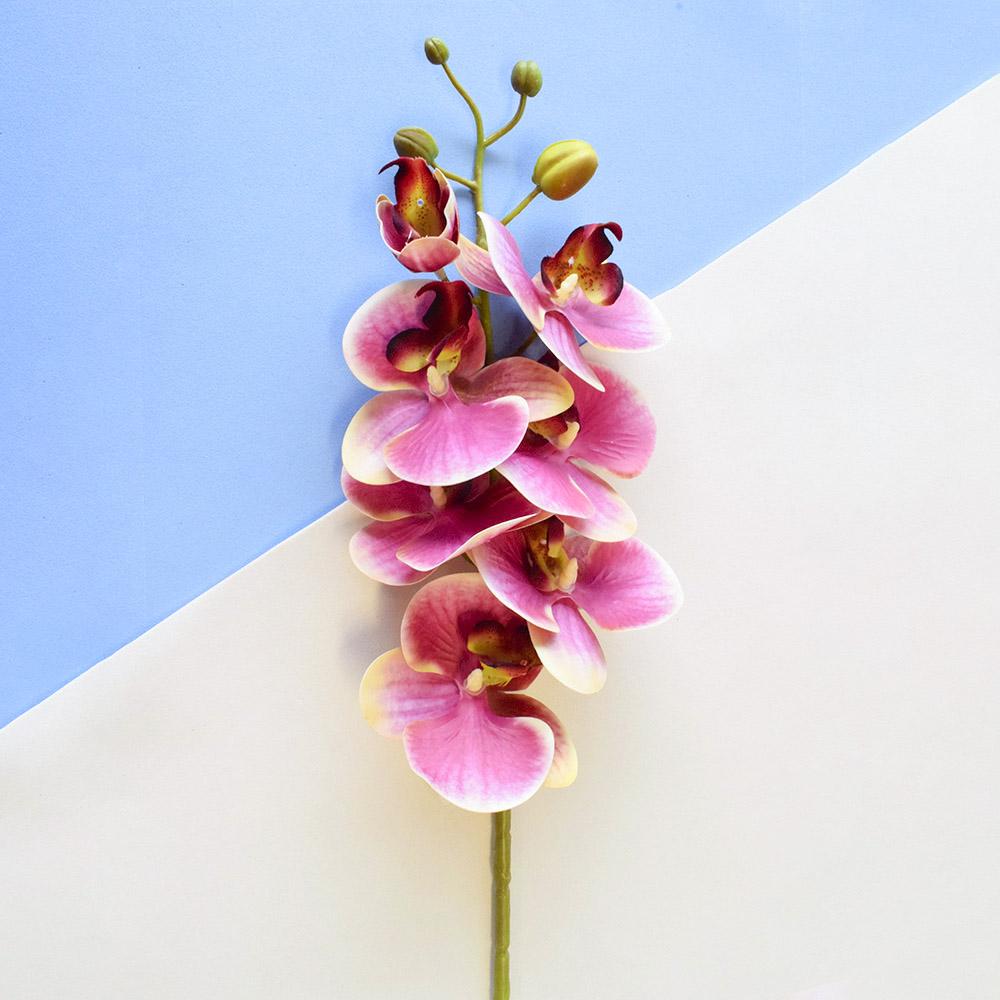 Kit Com 6 Hastes Orquídeas Toque Real Rosa e Amarela   Formosinha