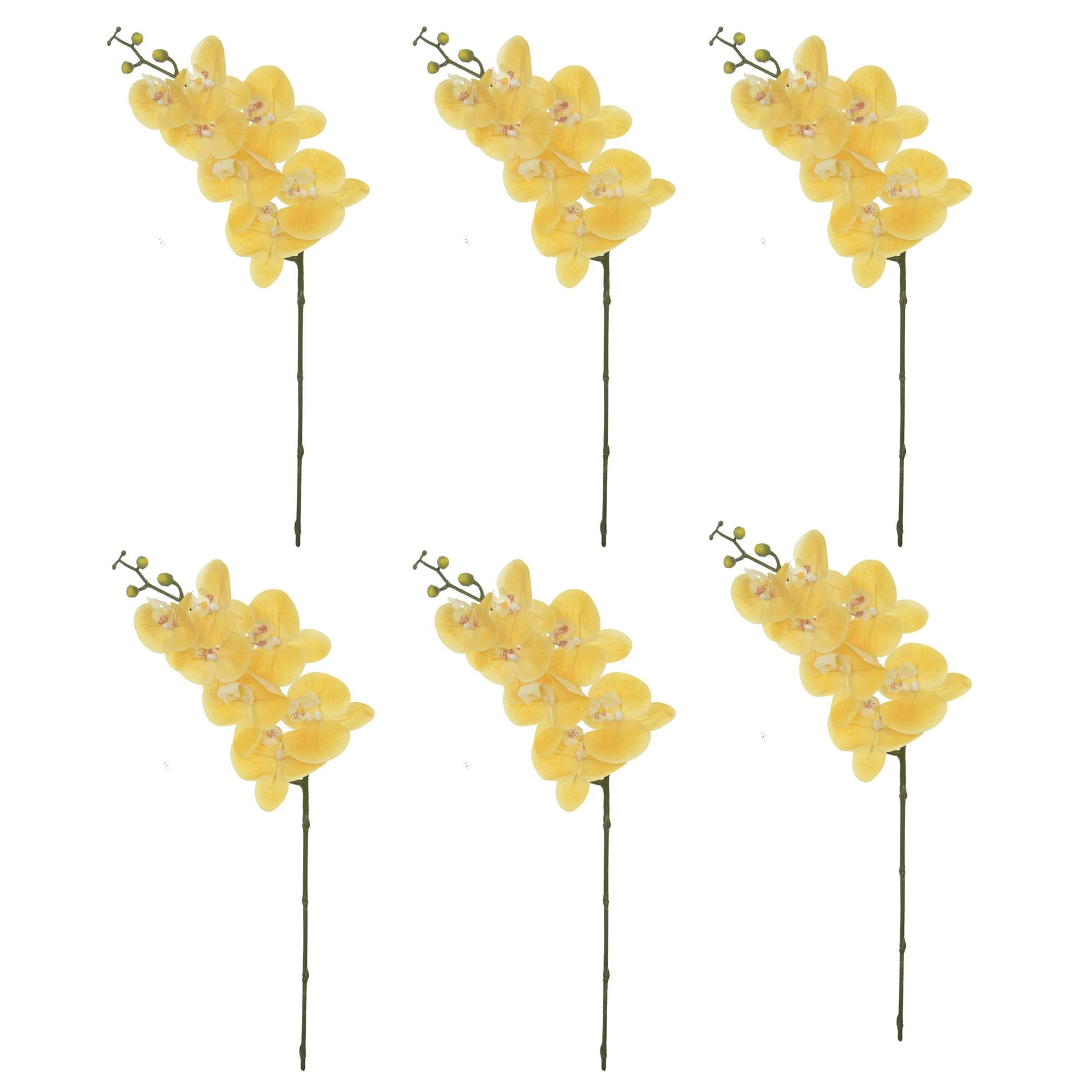 Kit com 6 Unidades - Flor Artificial Haste de Orquídea Toque Real Amarela | Formosinha