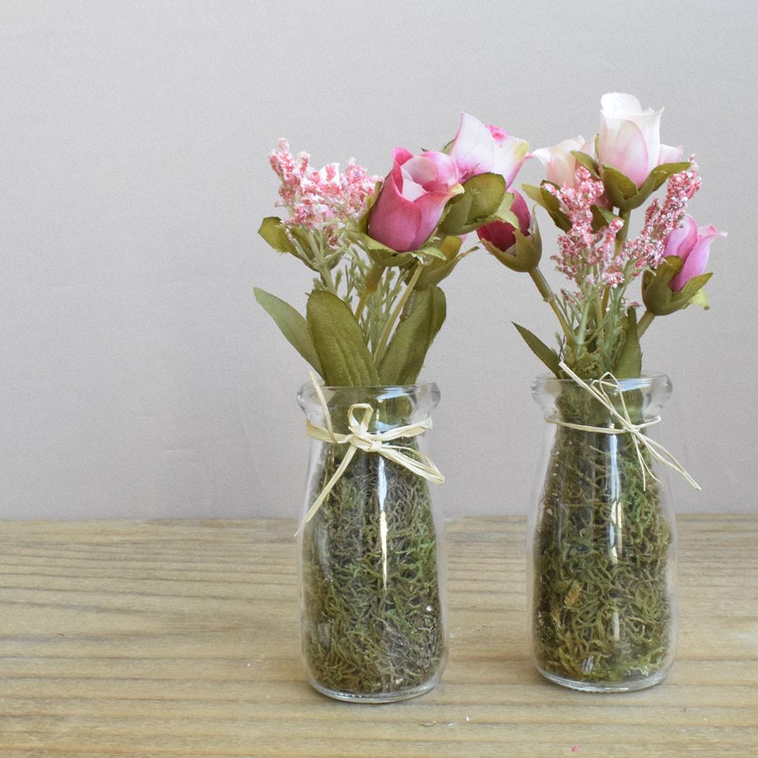 Kit com Dois Arranjos de Mini Rosas no Vaso de Vidro | Linha Permanente Formosinha