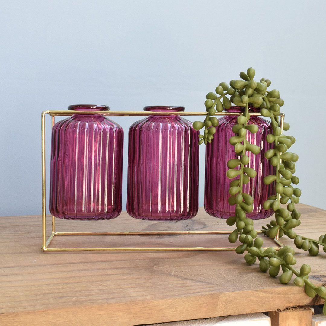 Vasos de Vidro Garrafinhas Pink no Suporte de Metal Dourado | Linha Decorações Formosinha