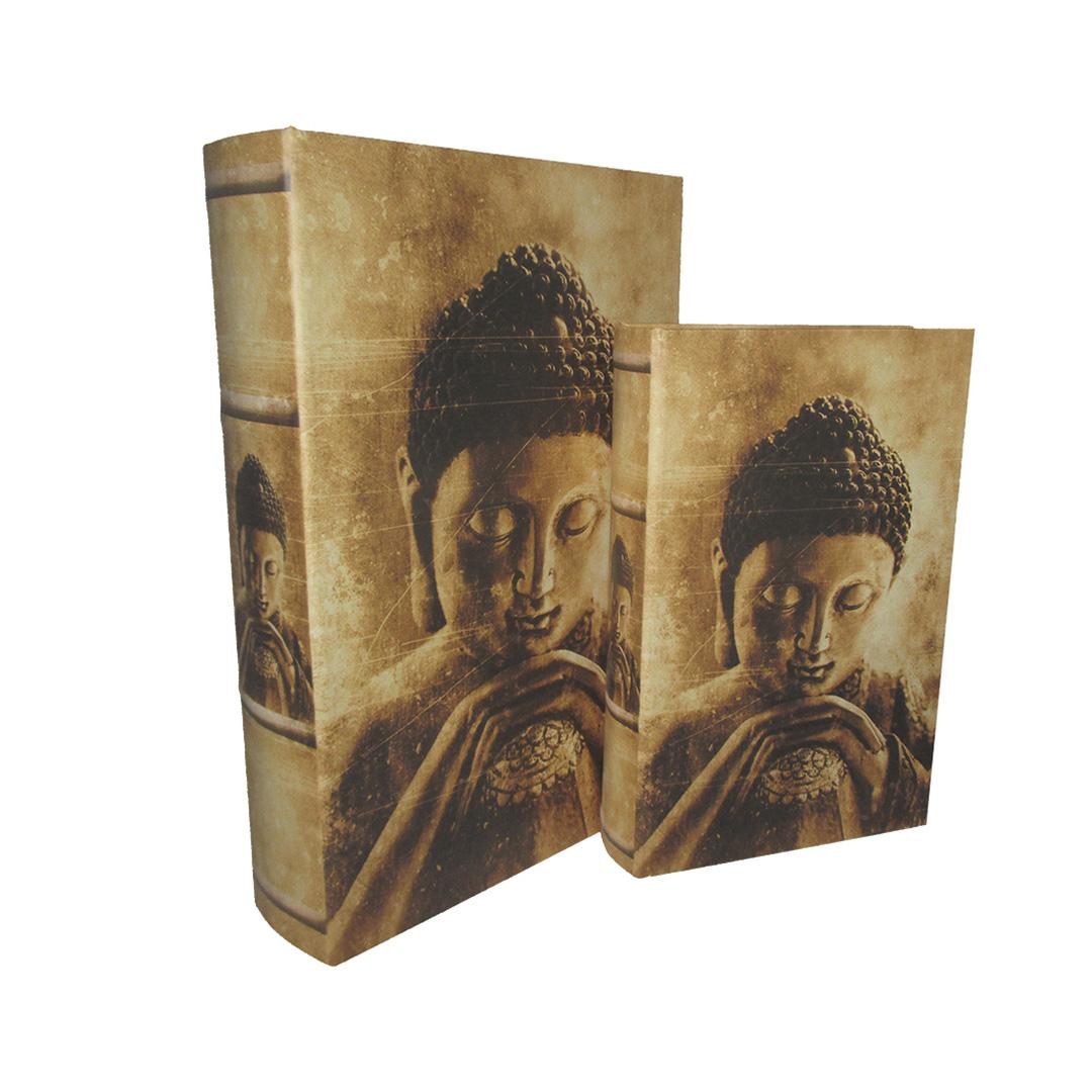 Kit de Caixas Livros de Madeira Buda