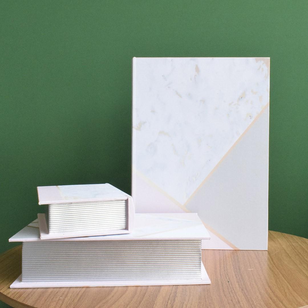 Kit de Caixas Livros Decorativas Geométricos