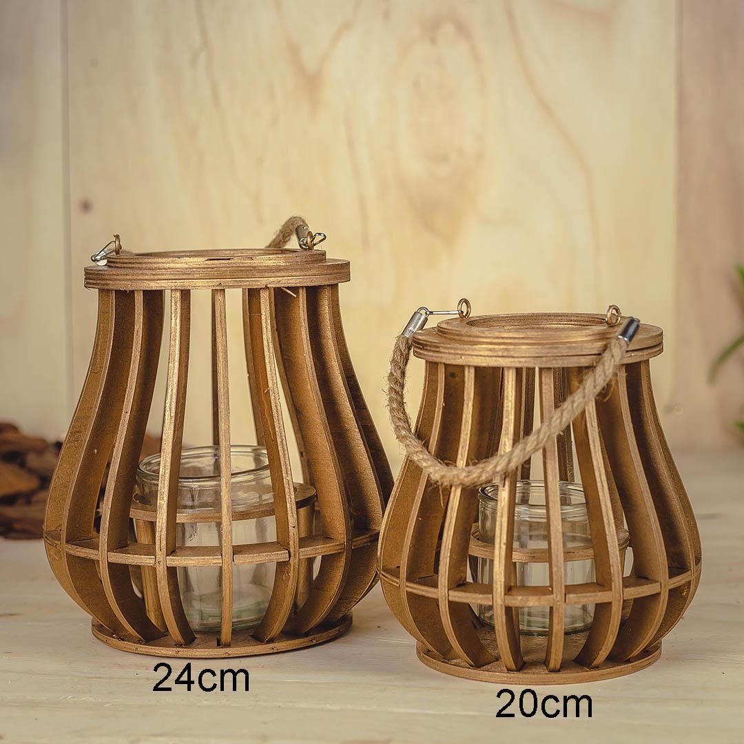 Lanterna de Madeira com Corda 20cm | Formosinha